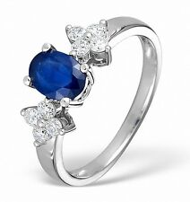 Sapphire and Diamond Ring Solitaire Engagement White Gold Dress ring Certificate