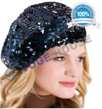 Ladies Girls French 70s Costume Party Dance Disco SEQUINED Hats BERET One Size