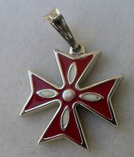 925 Sterling Silver Order Of St.John Maltese Cross Solid Pendant with Enamel