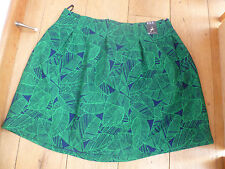 ATMOSPHERE PRIMARK BRIGHT GREEN NAVY BLUE LEAF WOVEN LINED HIGH WAIST SKIRT BNWT