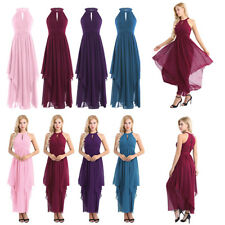 New Womens Bridesmaid Dress Halter Long Chiffon BallGown Evening Party Cocktail