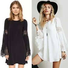Summer Women Chiffon + Lace Long-sleeved Solid A-line Hollow One-piece Dress