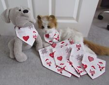 Handmade Cat & Dog Red Father Christmas Print Fabric Bandanna Sizes XS- S- M - L