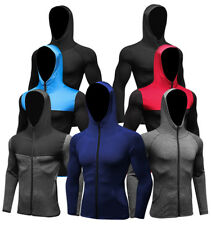 Men's Athletic Workout Hoodies Running Jogging Gym Casual Hooded Tops Zip Up