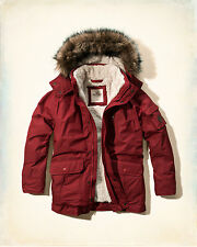 NWT Hollister-Abercrombie&Fitch Mens The Coastal Trail Parka Sherpa-Lined Red