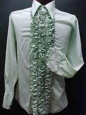 VINTAGE RUFFLED TUXEDO TUX SHIRT RETRO GREEN - BLACK TRIMMED RUFFLES MADE IN USA