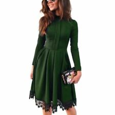 Women Long Sleeve Vintage Style Stand Collar Lace Decorated Dress P89