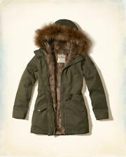 NWT Hollister by Abercrombie Women's Faux Fur Lined Parka Jacket Olive XS XXS