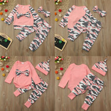 Toddler Infant Baby Kid Girls Boys Camouflage Bow Tops Pants Outfits Set Clothes