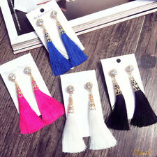 Hot Arrival Rhinestone Long Tassel Dangle Earrings for Women Thread Fringe Drop