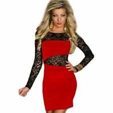 Women Lace Patchwork Pattern Long Sleeve Autumn Round Neck Bodycon Dress