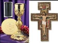 CHALICE PATEN IHS 24k GOLD PLATE HOLY COMMUNION CHALICE CASE ST FRANCIS CRUCIFIX
