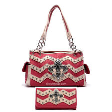 Color Block Fleur De Lis Chevron patch rhinestone Zigzag Shoulder Bag wallet set