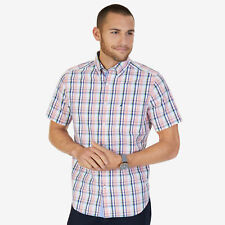 Nautica Mens Madras Plaid Classic Fit Short Sleeve Button Down Shirt
