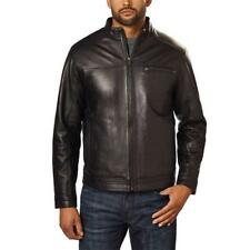 Boston Harbour Mens Leather Jacket Black Full Zip Fully Lined Big & Tall Sizes