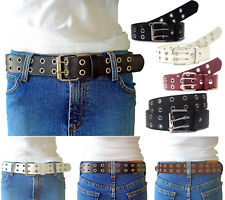 NEW Women's Thick Wide Double Hole Grommet Leather Belt Removable Silver Buckle