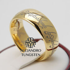 Tungsten Ring LORT 18K Gold Lord of the Ring 8MM Hobbit Wedding Band Size 6 - 14