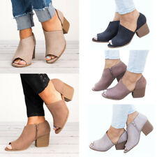 Womens Peep Toe Chunky Block High Heel Ankle Booties Boots Casual Zip Up Shoes