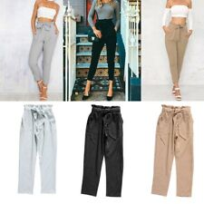 Summer OL Lady Women Skinny Ankle-length Pencil Pants High Waist Casual Trouser