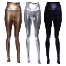 Ladies Sexy Shiny Wet Look Faux Leather Full Ankle Length Leggings Trousers