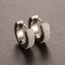 1 Pair Cool Punk Men's Stainless Steel Hoop Piercing Round crystal Earring Ear S