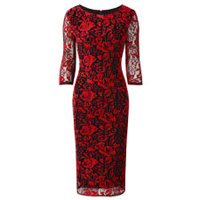 Red Black 3/4 Sleeve Flock Rose Floral UK Bodycon Wiggle Pencil Party Dress