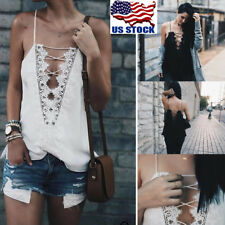 Womens Summer V Neck Vest Top Sleeveless Blouse Casual Tank Tops T-Shirt Lace US