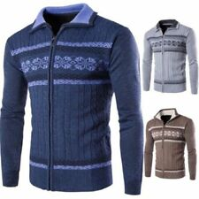 Men Zip Up Knitting Cardigan Sweaters Stylish Slim Fit Casual Knitted Jumpers