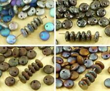 40pcs Etched Rustic Lentil Czech Glass Beads Flat Round One Hole 8mm