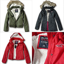 NWT Hollister-Abercrombie Women's All-Weather Sherpa Fur Lined Parka Jacket Coat