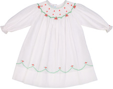 Feltman Brothers Girls White, Red, & Green Smocked Christmas Dress 3M-3T NWT