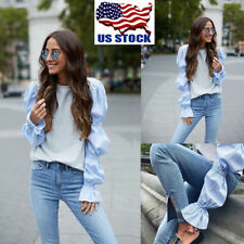 US Womens Puff Long Sleeve Tops Casual Autumn Blouse T Shirts Pullover Tee S-XL