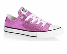 Converse All Star Ox 650817C Girls Glitter Trainers Dahlia Pink Shoes