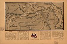 Poster Print Antique American Military Map Petersburg Five Forks