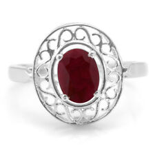 925 Sterling Silver Ring with Red Ruby Natual Gemstone Oval Cut Handmade