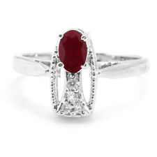 925 Sterling Silver Ring with Red Ruby Natural Gemstone Oval Cut handcrafted