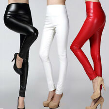 Leather Leggings Fleece Warm Pants Pencil Winter Stretchy Women Thick Trousers