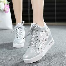 Lady Womens Lace Up Hollow Round Toe Wedge mesh High Top Platform Sneakers Shoes