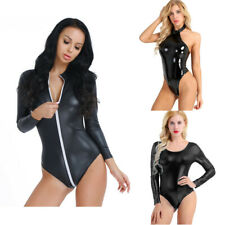 Women Catsuit Clubwear Faux Leather Jumpsuit Bodysuit Leotard Wetlook Costume