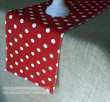 Red Polka Dot Table Runner Red and White Linens Table Centerpiece Dining Decor
