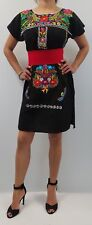 ABOVE KNEE EMBROIDERED MEXICAN PEASANT HIPPIE MINI BOHO DRESS