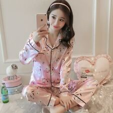 Women Silk Pajamas Set Long Sleeve Pajama Pyjama Sleepwear Leisurewear Homewear