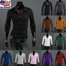 Mens Boys Stylish Slim Fit Long Sleeve Casual Polo Shirts T-shirt Tee Tops USA
