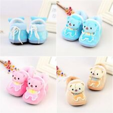 Bear Pattern Slippers Shoe 6-12 Month Boy Girl Baby Ankle Booties Soft Sole Crib