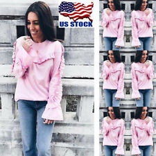 Womens Flared Long Sleeve Tops Autumn Casual Pullover Blouse  T-Shirts Hoodie US