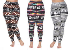 Plus Size Soft Winter Printed High Waist Stretch Full Leggings Bottoms Seasonal