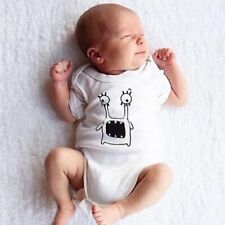 Unisex Infant Short Sleeves Baby Romper with Little Monster Pattern Printing XP