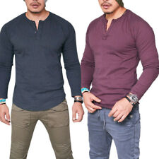 Men's Casual Long Sleeve Slim Fit Cotton Button Plain T-Shirt Muscle Top Clothes
