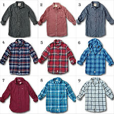 NWT Hollister by Abercrombie Mens Classic Plaid Flannel Shirt Twill 100% Cotton