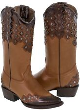 Womens Brown Cognac Rust Leather Studded Cowboy Western Cowgirl Boots Ranch